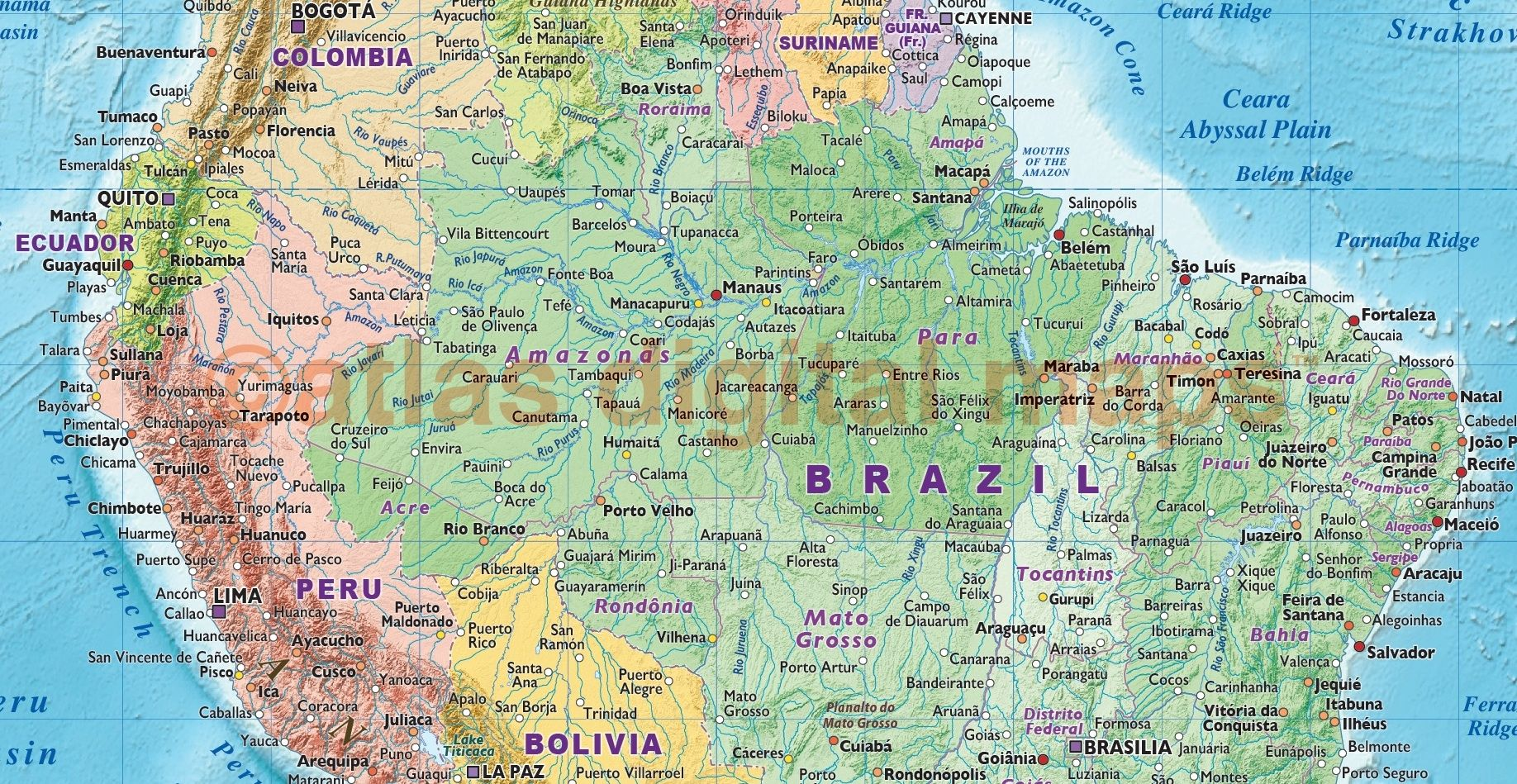 Political Map Of Brazil And Central South America In Bright - Political map of brazil