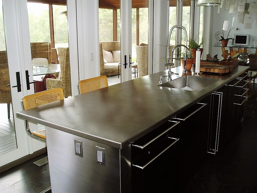 Custom Stainless Steel Kitchen Island Countertop With An Integral