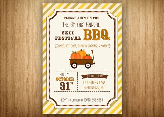 Fall Festival Invitation Fall BBQ Barbeque Fall Cookout Fall - bbq flyer