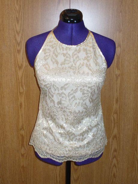 Gold Lace Halter Top, Sz US L $15.00