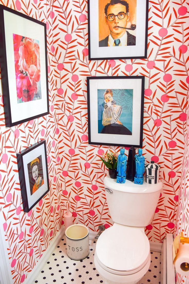 Photo of #bathroomideas Colorful Powder Room Before & After | Toilet design, Restroom design, Classic bathroom – bathroom