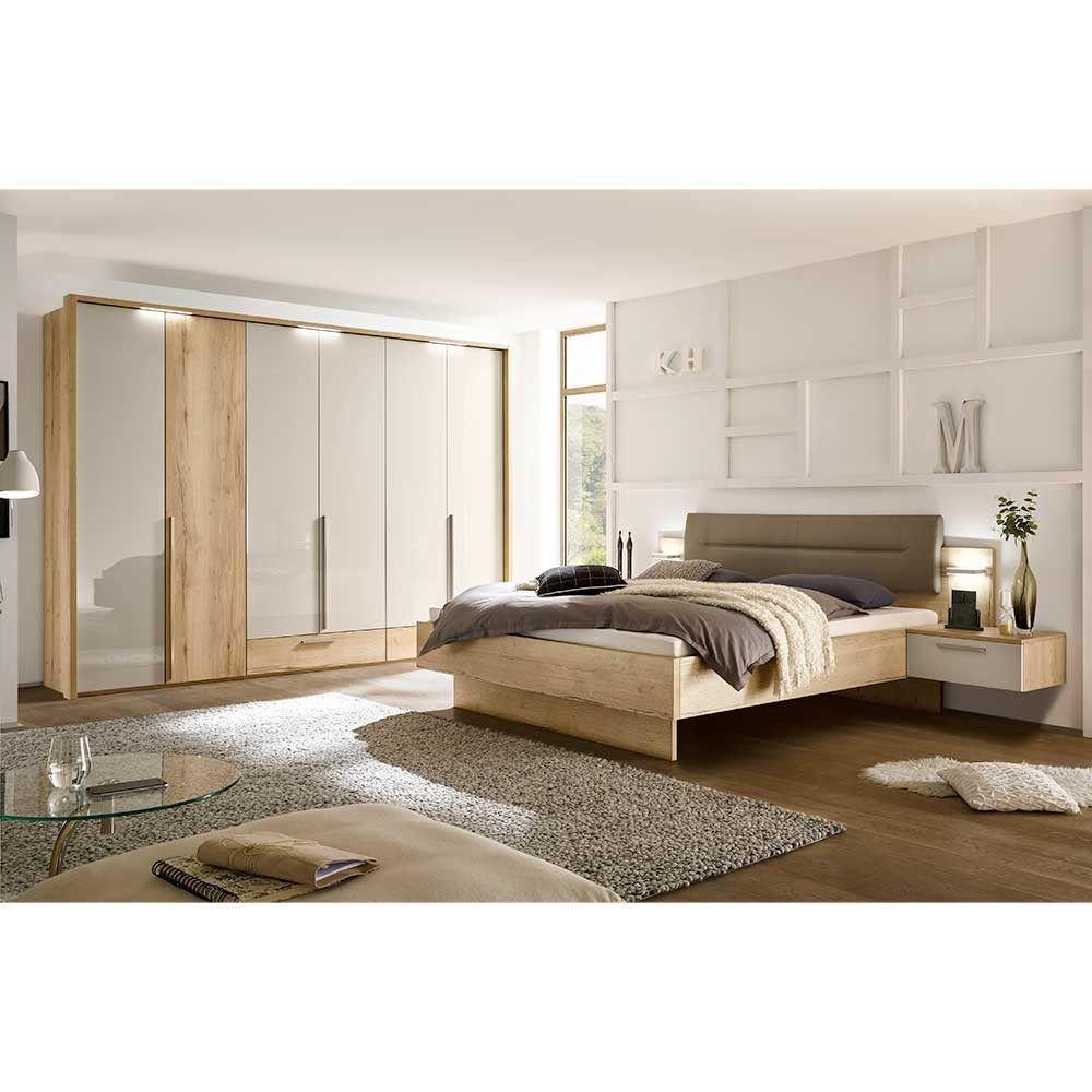 Schlafzimmer Set Grandesco In Hellgrau Glanz Und Eiche