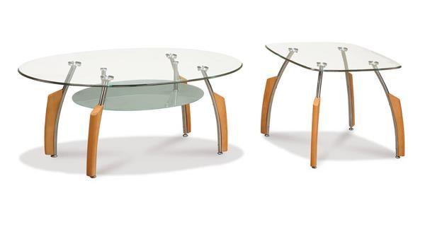 silver beech glass metal wood 3pc coffee table set global