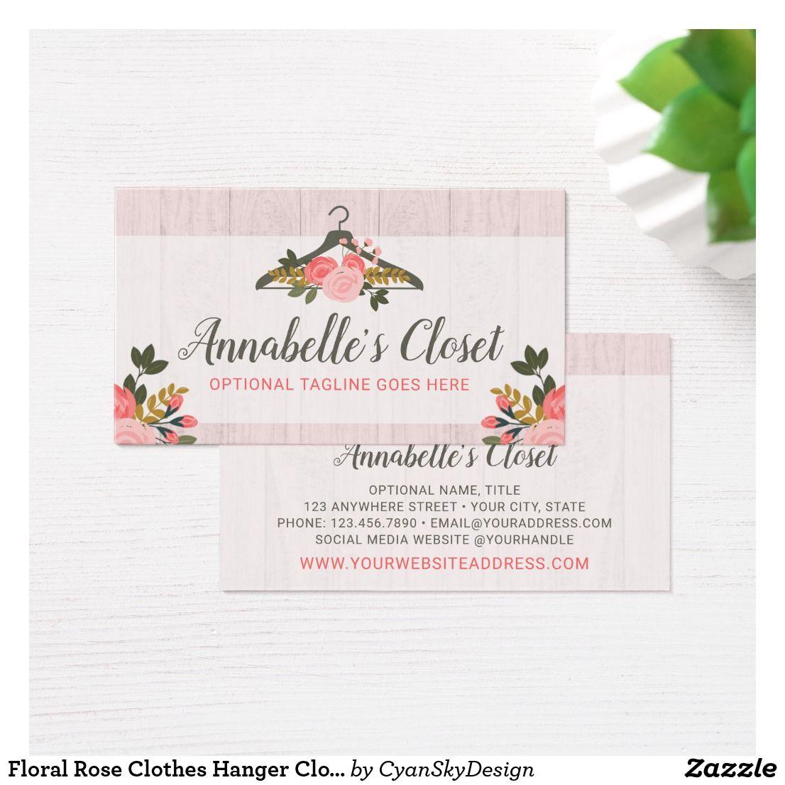 Floral Rose Clothes Hanger Closet Fashion Boutique Business Card Zazzle Com Boutique Business Cards Rose Clothing Floral