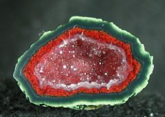 This is referred to as a TABASCO AGATE GEODE. Sure looks hot hot hot to me. :) De Mexico Crystal Serenity