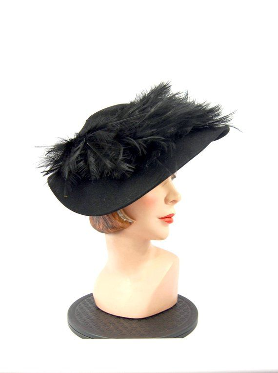 9cbf5506698 40s 50s Hattie Carnegie Original Feathered Hat - Black Felt Wool Hat  Feathered Wide Brimmed Hat Dram