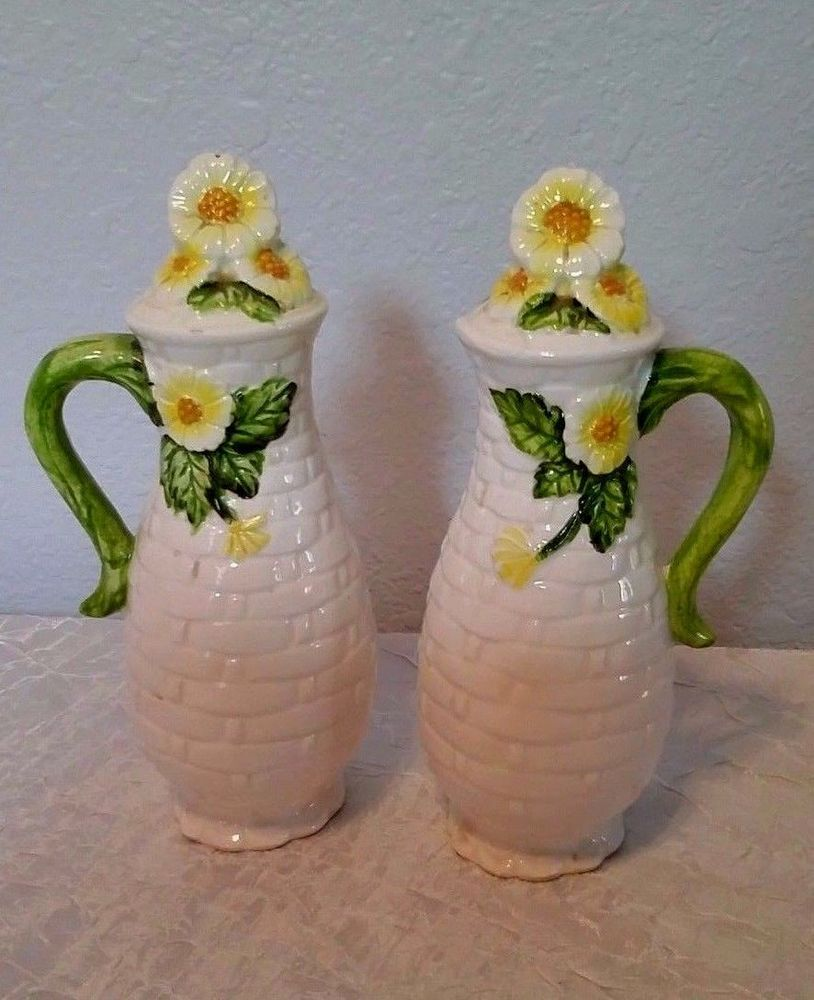 Lefton Vintage China Daisy Salt u0026 Pepper Shakers #4124 Basketweave Dinnerware & Lefton Vintage China Daisy Salt u0026 Pepper Shakers #4124 Basketweave ...
