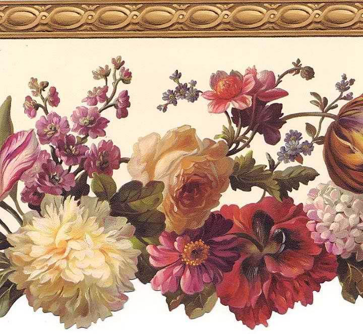 Interior Place Brown Flowers Wallpaper Border, 32.99