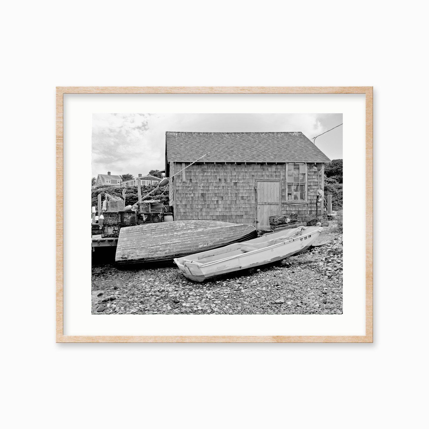 Menemsha fishing shack boats black and white photo print pictures of marthas vineyard photography wall art nautical photo greeting cards by