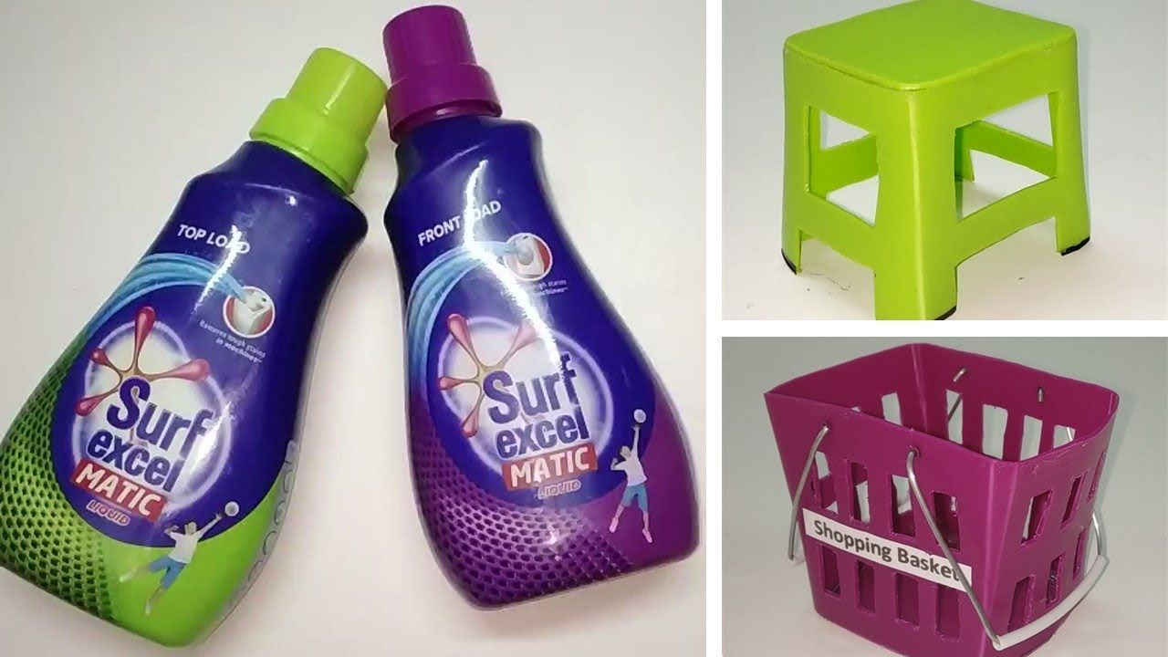 Surf Excel Bottle Miniature Craft Plastic Bottle Craft Best Out Of Waste Diy Project Youtub In 2020 Bottle Crafts Plastic Bottle Crafts Detergent Bottle Crafts