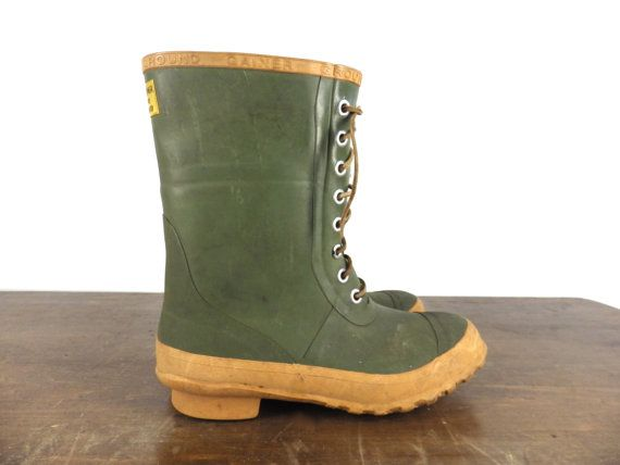 4cf2649c8145e 70s Rubber Boots by Ground Gainer - Insulated Pile Lined - Steel ...