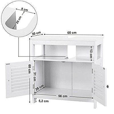 Songmics meuble sous lavabo armoire de rangement meuble de for Amazon lavabos