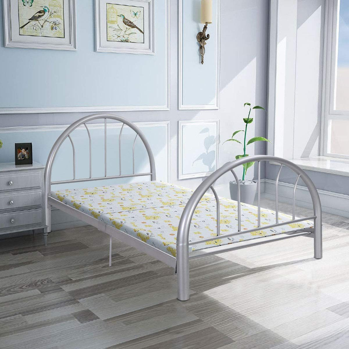"Giantex 83""x42""x35"" Metal Bed Platform Frame Twin Size"