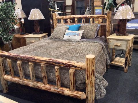 From Great Northern Logworks. Queen Size Log Bed, 1 Drawer Log Nightstands.