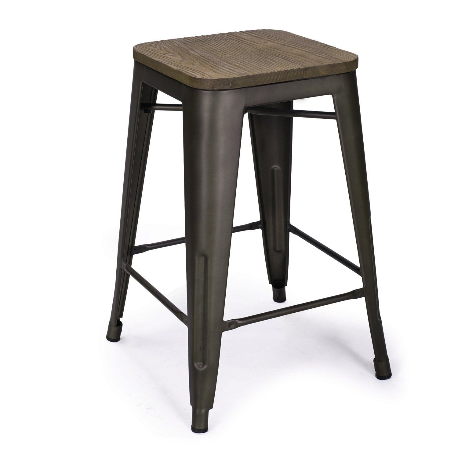 Amazon Com Adeco 24 Inch Metal Counter Stools Vintage Wood Seat