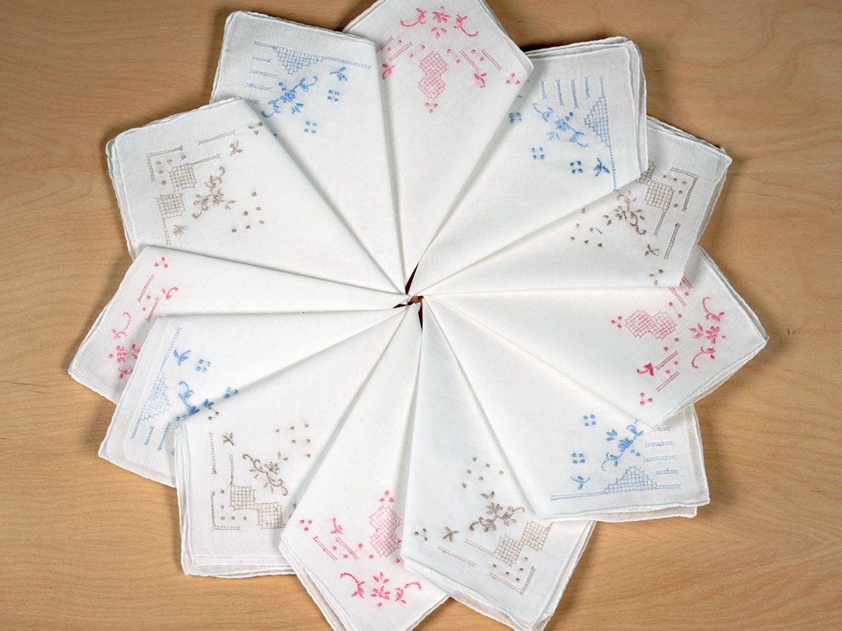 Set of 12 Mix Color Embroidered Handkerchiefs