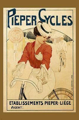 PIEPER BICYCLES Vintage Ad Poster ÉMILE BERCHAMS Belgium 1900 24X36 new rare