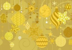 yellow Christmas holidays decorations - background