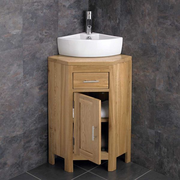 Small Corner Oak Vanity Unit With Corner Basin Bundle Ceramic 400mm X 310mm Sink With Tap And Waste Alta Corner Sink Bathroom Corner Bathroom Vanity Oak Vanity Unit