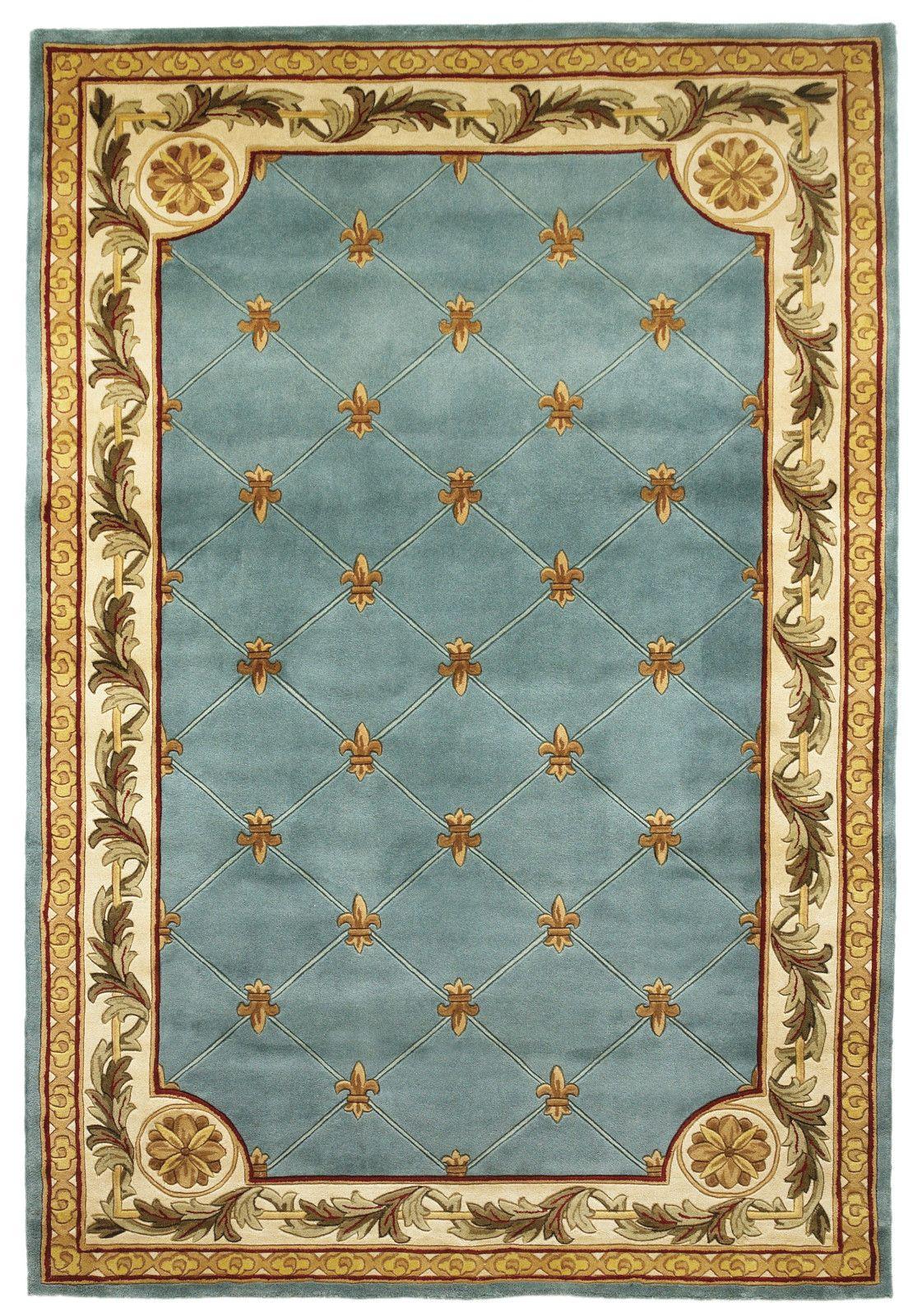 Kas Jewel 0305 Wedgewood Blue Fleur De Lis Area Rug Kas Rugs Rugs Blue Area Rugs Fleur de lis area rug