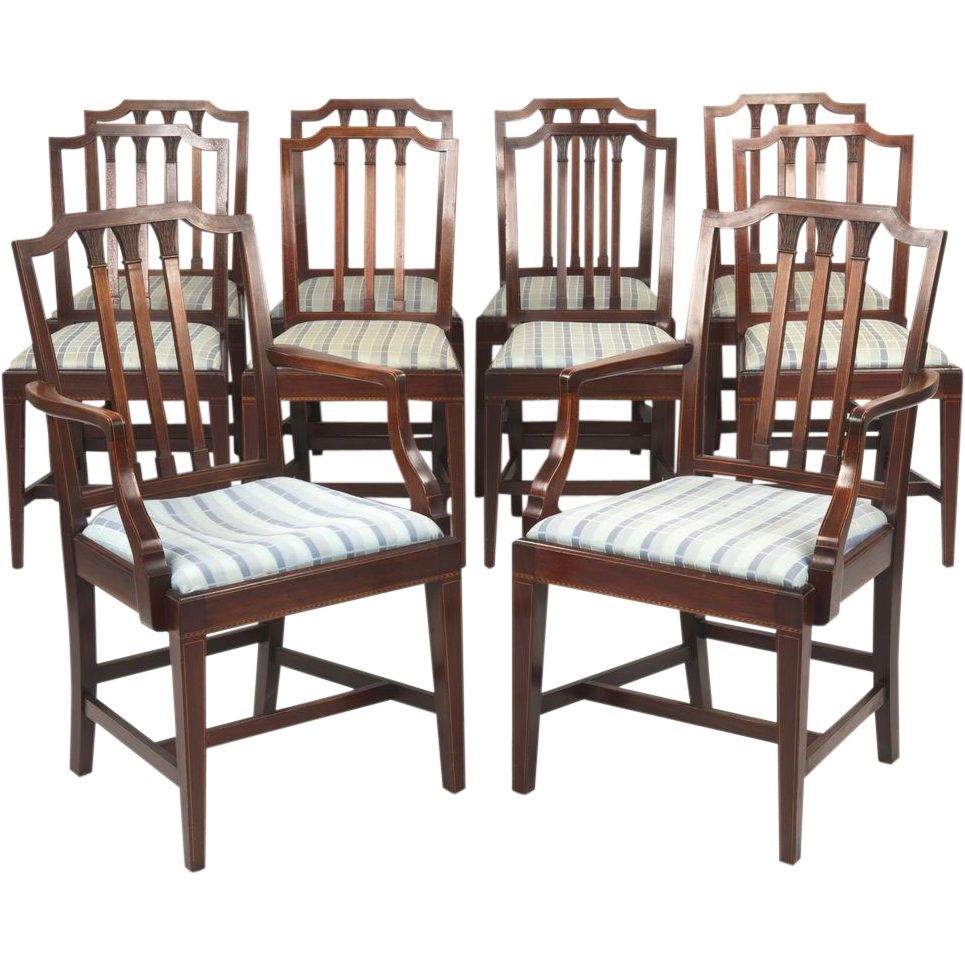 Set Of Ten Potthast Dining Chairs In American Federal Taste