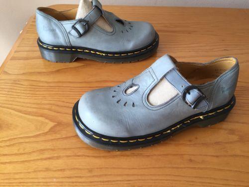 vintage dr martens 8184 blue grey t bar mary jane sandals. Black Bedroom Furniture Sets. Home Design Ideas