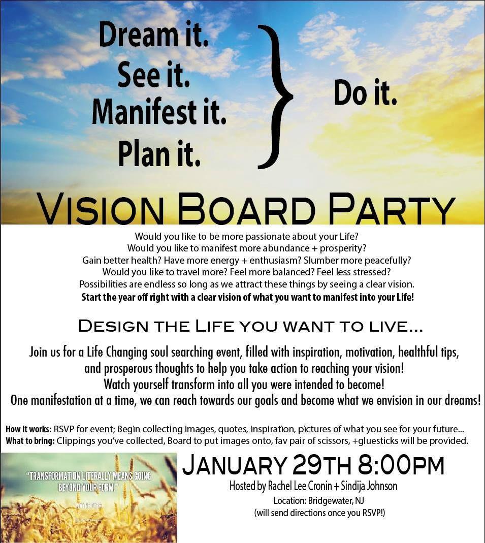 Vision Board Invite Wording Vision Board Party Health Quotes Motivation Vision Board Invitation