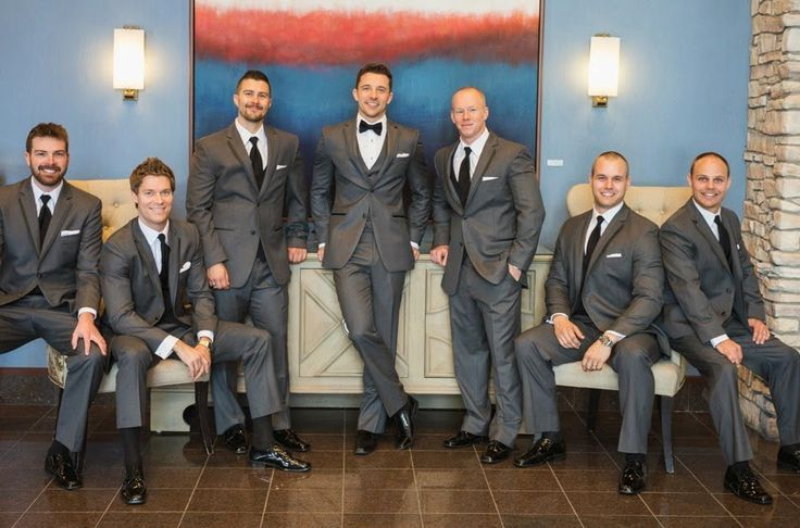 Grey Tuxedo Wedding Party