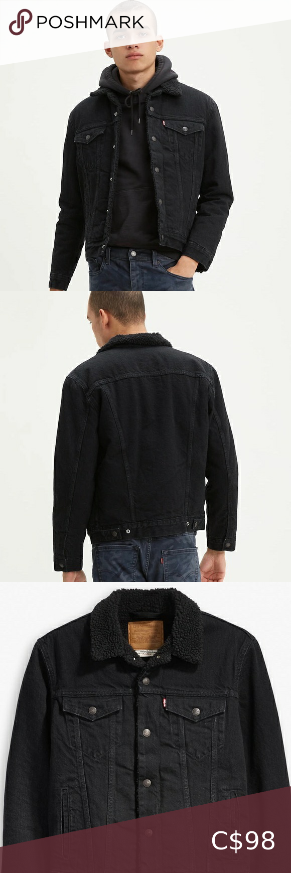 Levi's Sherpa Trucker Jacket Black in 2020 Jackets