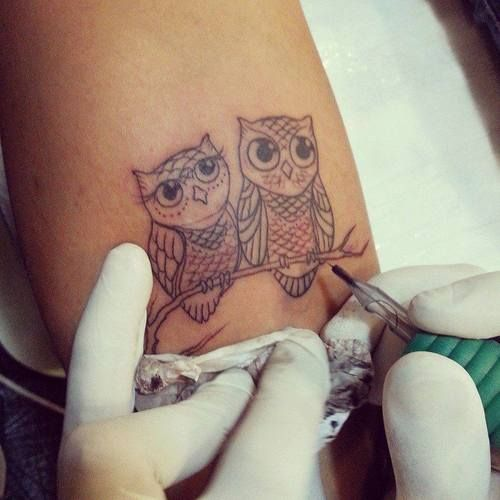 small owl tattoo ink youqueen girly tattoos tatoo. Black Bedroom Furniture Sets. Home Design Ideas