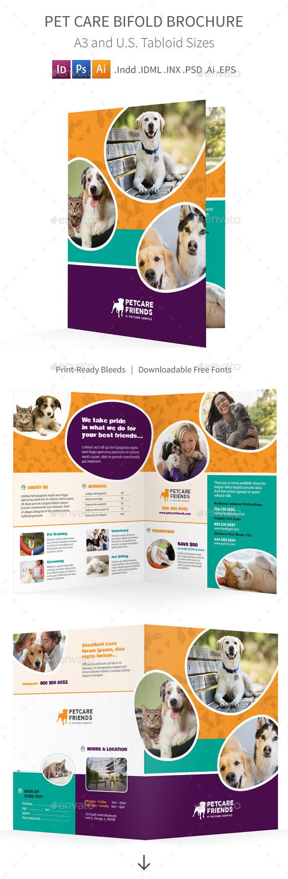 Pet Care Bifold  Halffold Brochure  Brochure Template Brochures
