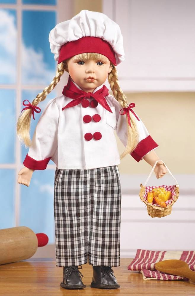 """Adorable Kitchen Chef Peggy Porcelain Collectible Doll 16""""H"""