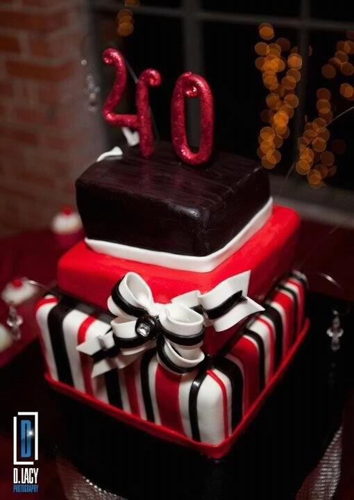 Black Red White Birthday Cake White Birthday Cakes 40th