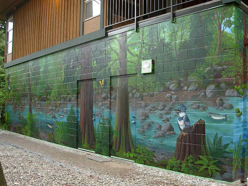 Painting Cinder Block Wall Outdoor Garden Murals