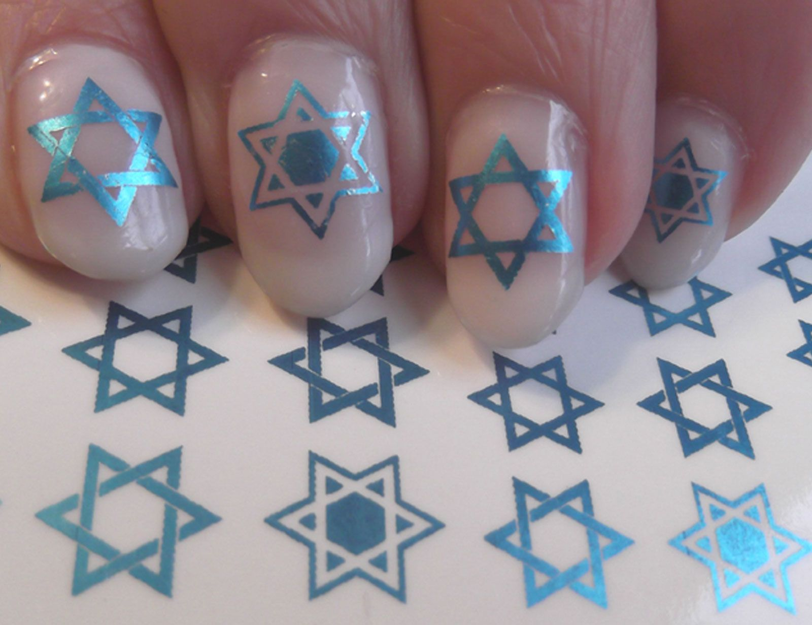 Blue Star Of David Nail Art Decals Jewish Sdb Gothic