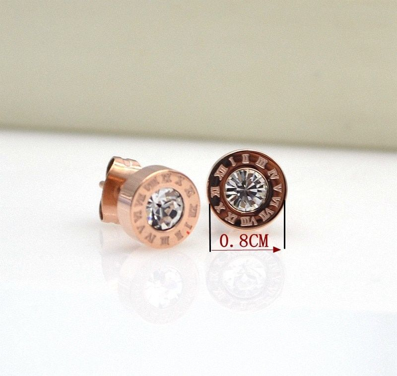 Water Hep Earrings Stainless Steel Round Shine AAA CZ 8MM Diameter Roman Numeral Stud Earrings for Women Brand Jewelry Platinum Plated