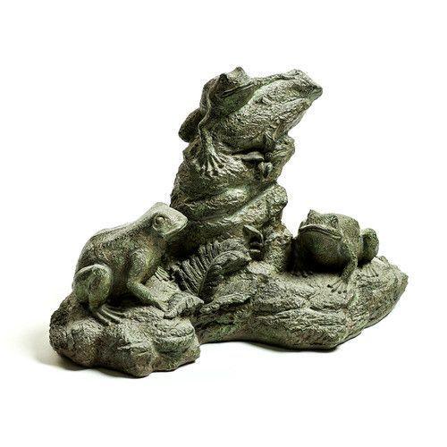 Frog Trio Naturalistic For Garden Patio Statue 21W