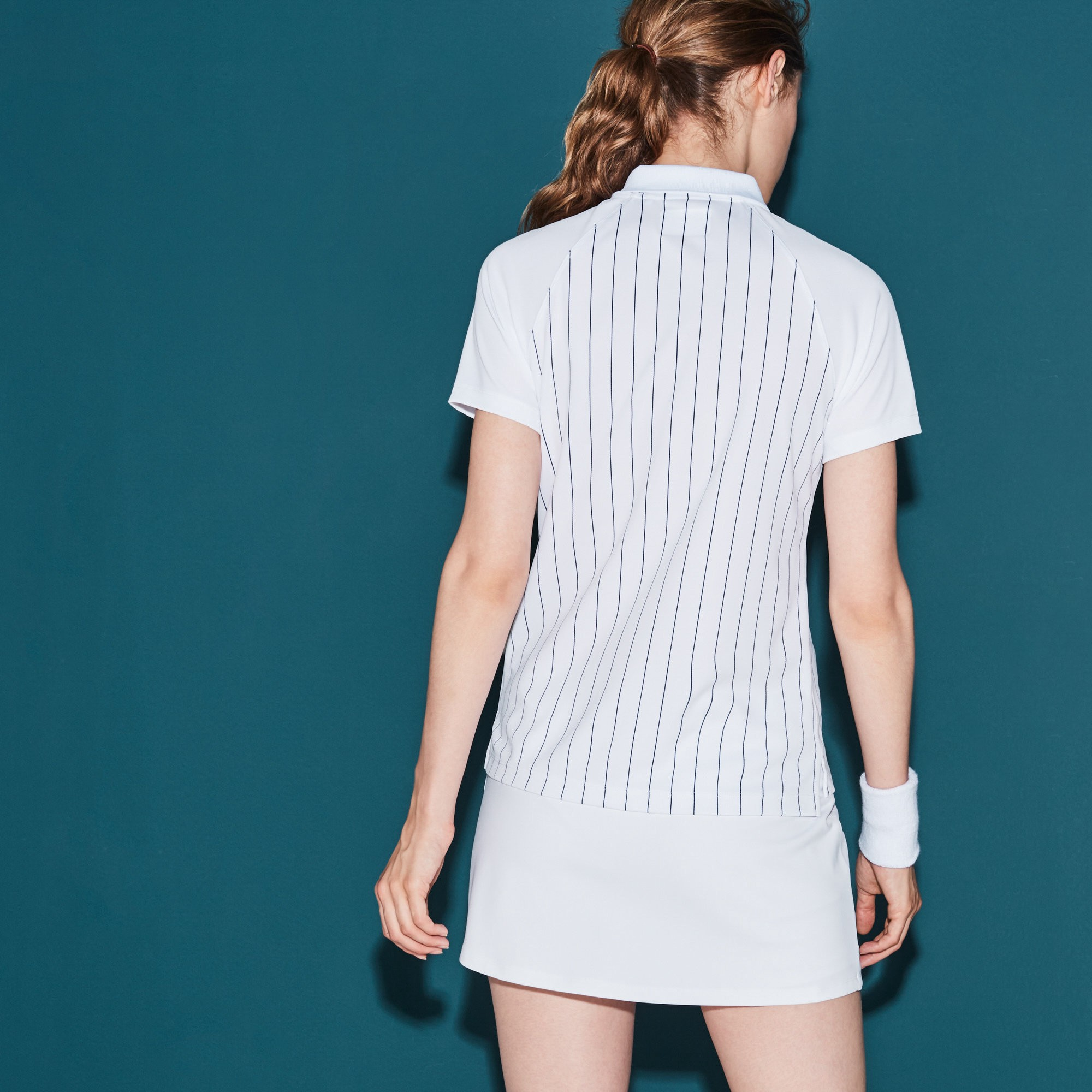 1b9dfe9d7b971 Lacoste Women s Sport Tennis Zip Neck Striped Tech Piqué Polo - White Ocean  Blue 10