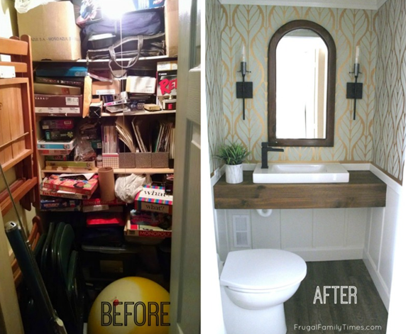 How To Turn A Spare Closet Into A Powder Room Home Trends Magazine Basement Bathroom Floating Bathroom Vanities Basement Bathroom Design
