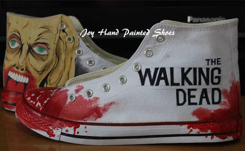 fc0f55d06bf0 Walking Dead Converse Custom Hand Painted Shoes The Walking Dead ...