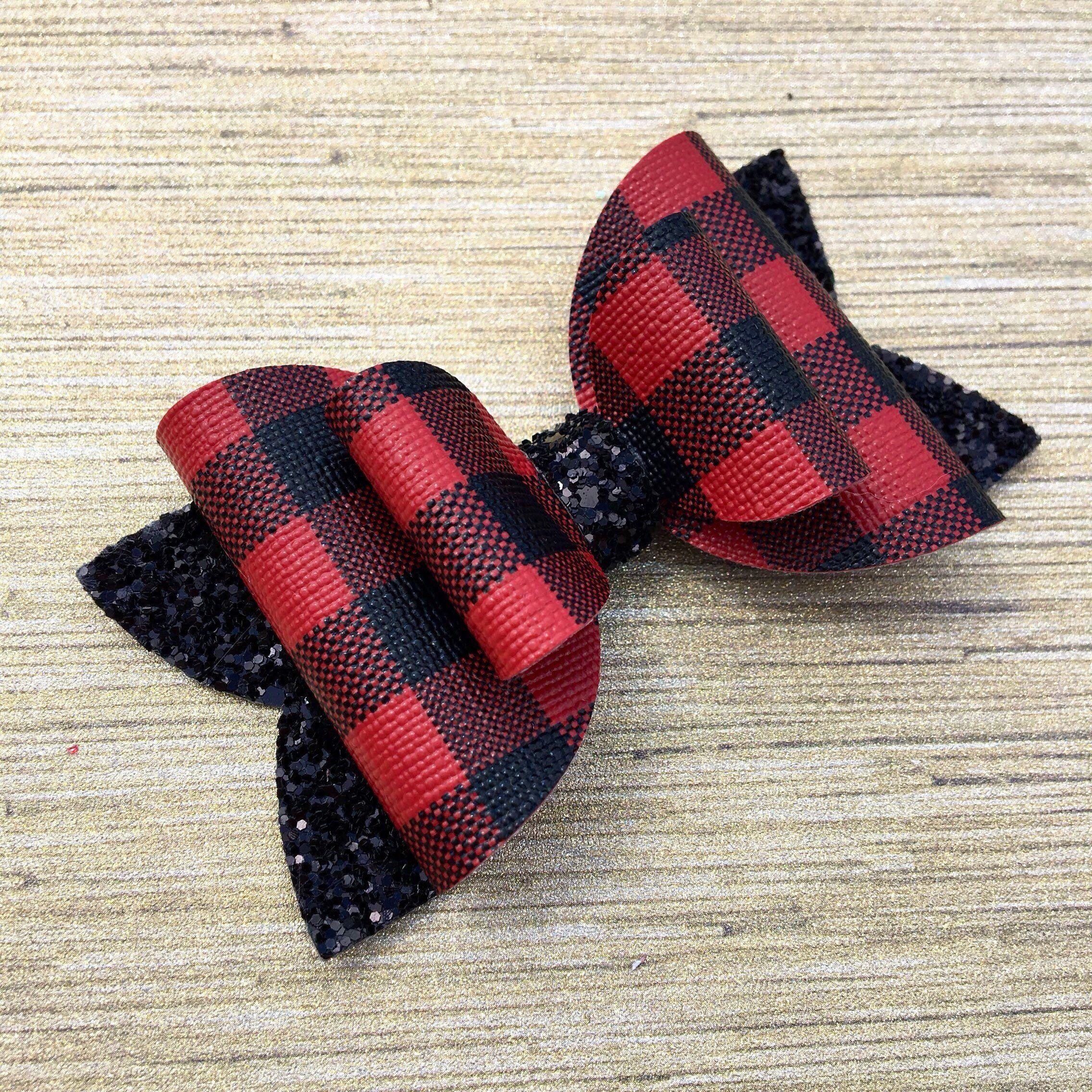 girls hair bow Tartan hair bow glitter bow photo shoot prop baby hair bow tie bow christmas bow red hair bow