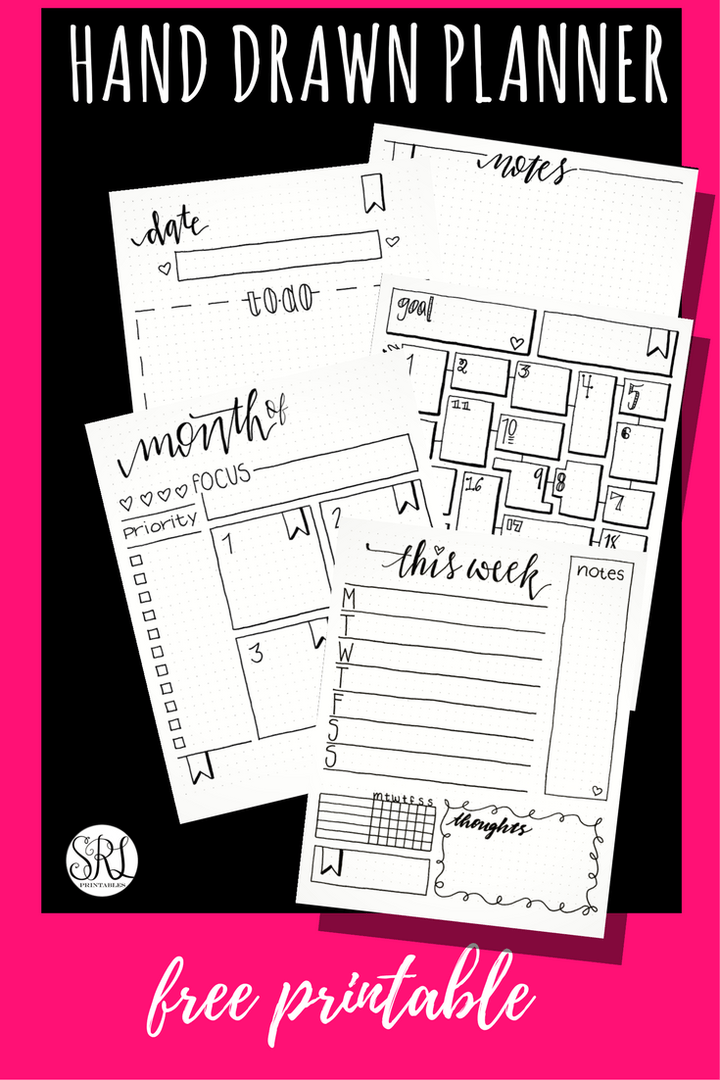 free printable bullet journal daily weekly monthly goal tracker and notes pages by srlprintables