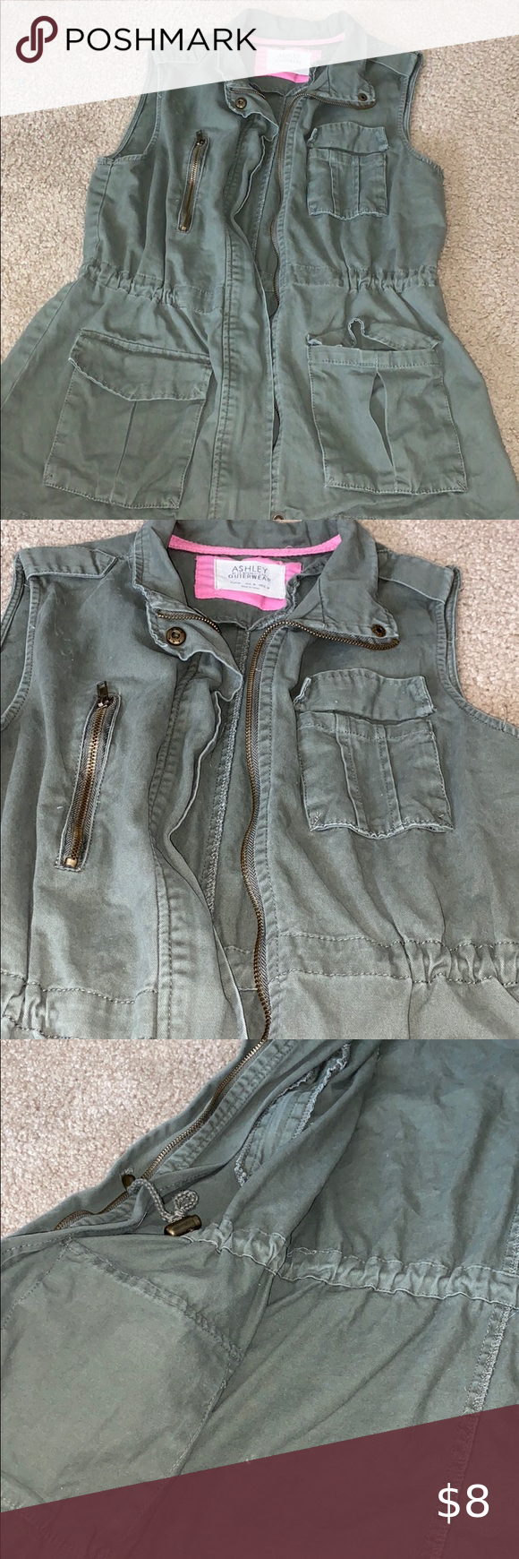 Ashley Outerwear Green Zip Up Vest In Great Condition Lots Of Pockets And Looks Good Zipped And Un Zipped Jackets Coats Vests Outerwear Zip Ups Zip [ 1740 x 580 Pixel ]