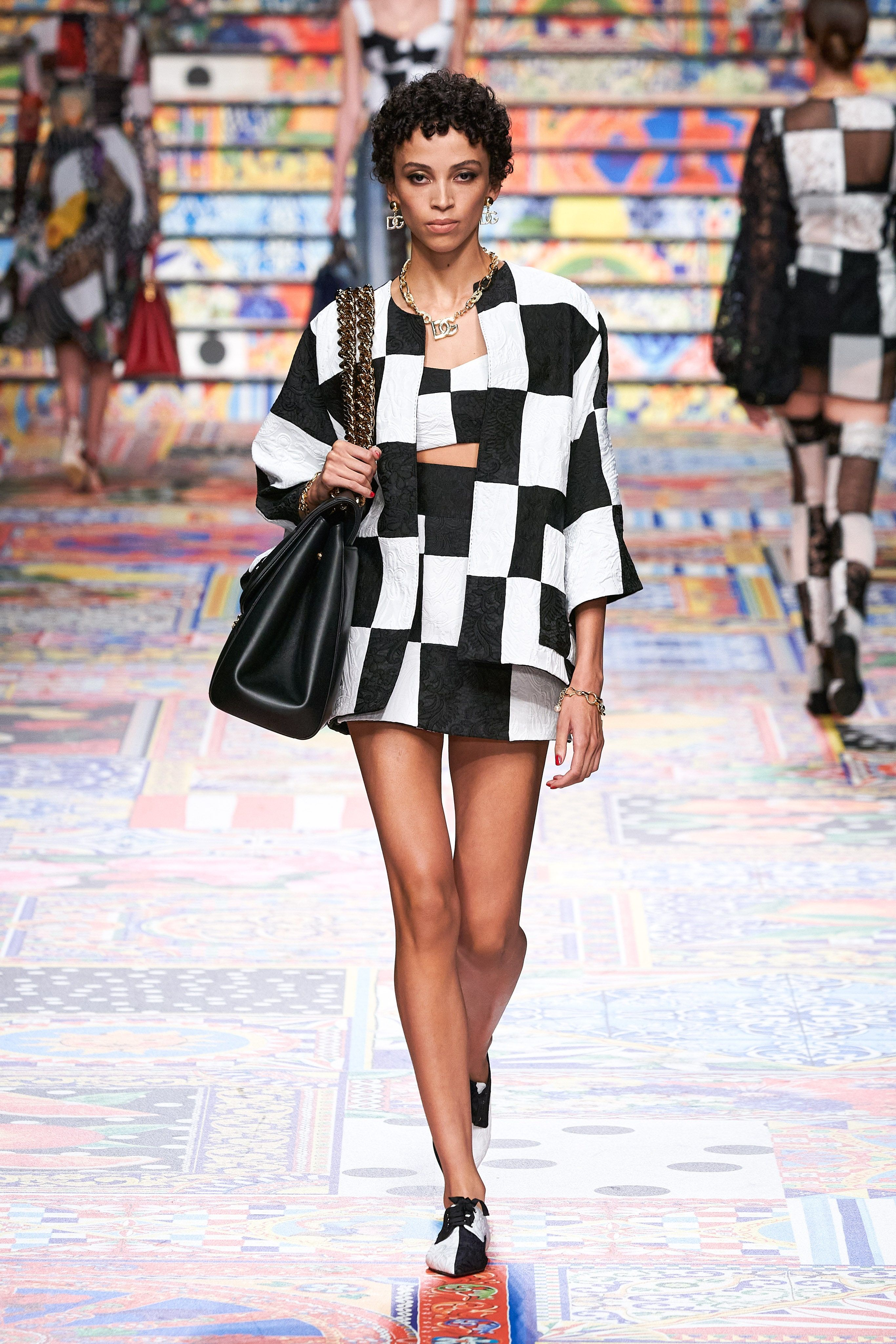 Image result for dolce and gabbana chequered dress spring 2021