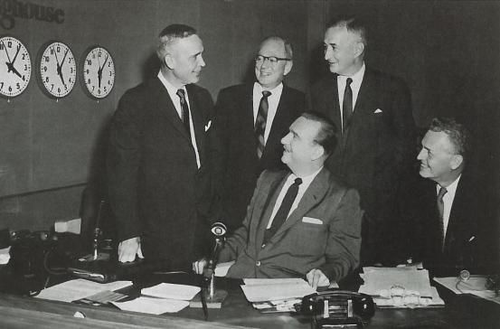 Members of Westinghouse, George Ketchum, and Walter Cronkite. (Ketchum Public Relations Archives)