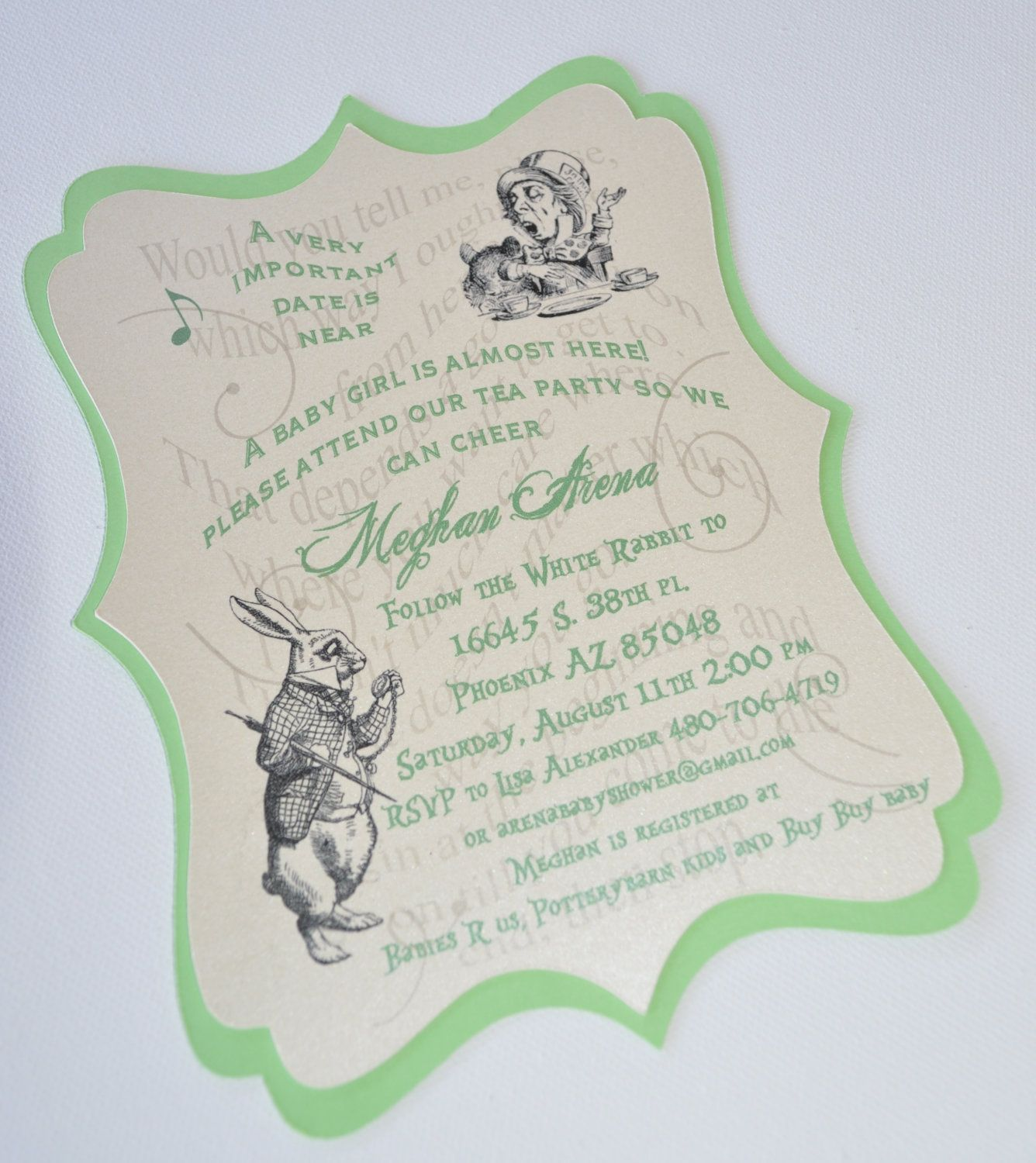 mad hatter teparty invitations pinterest%0A Layered Vintage Alice in Wonderland Mad Hatter Tea Party Invites           via Etsy