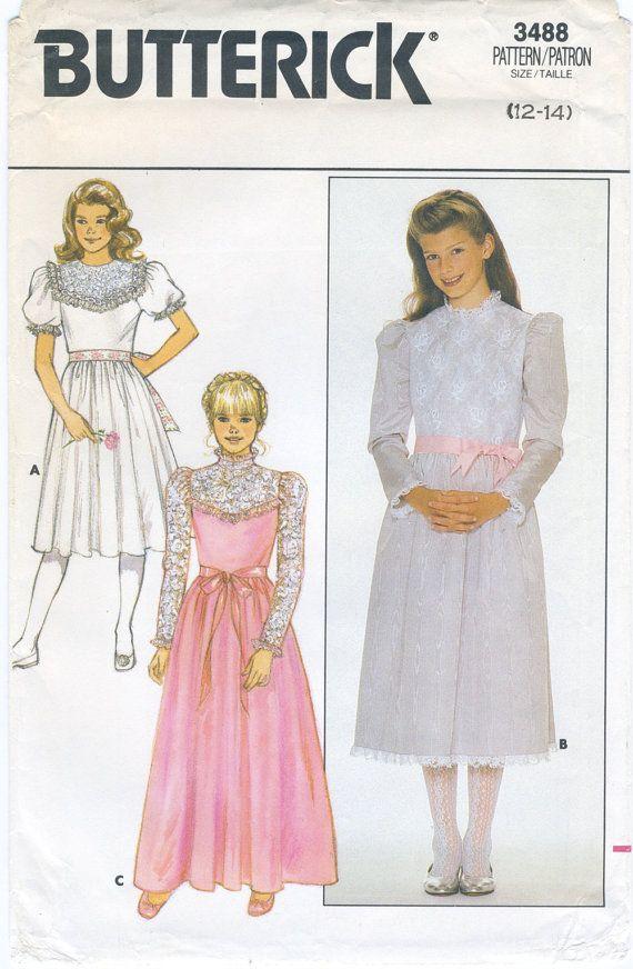 Girls\' Formal Dress Sewing Pattern Size 12, 14 Butterick 3488 Uncut ...