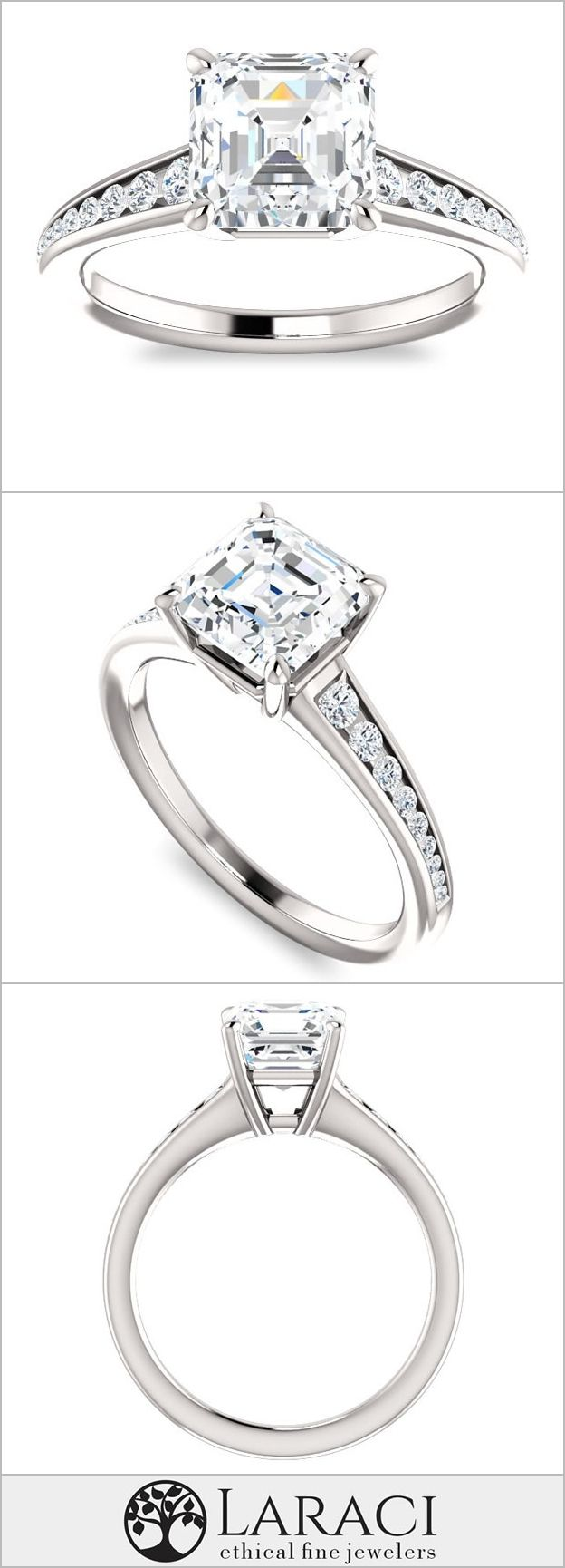 K white gold tapered engagement ring with moissanite accents set