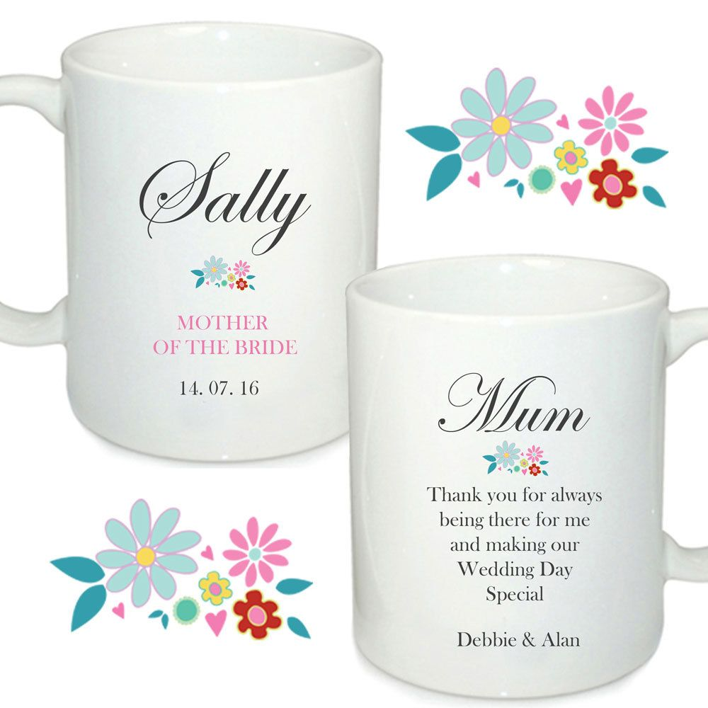 Personalised wedding mugs, Mother of the bride, Mother of the groom ...