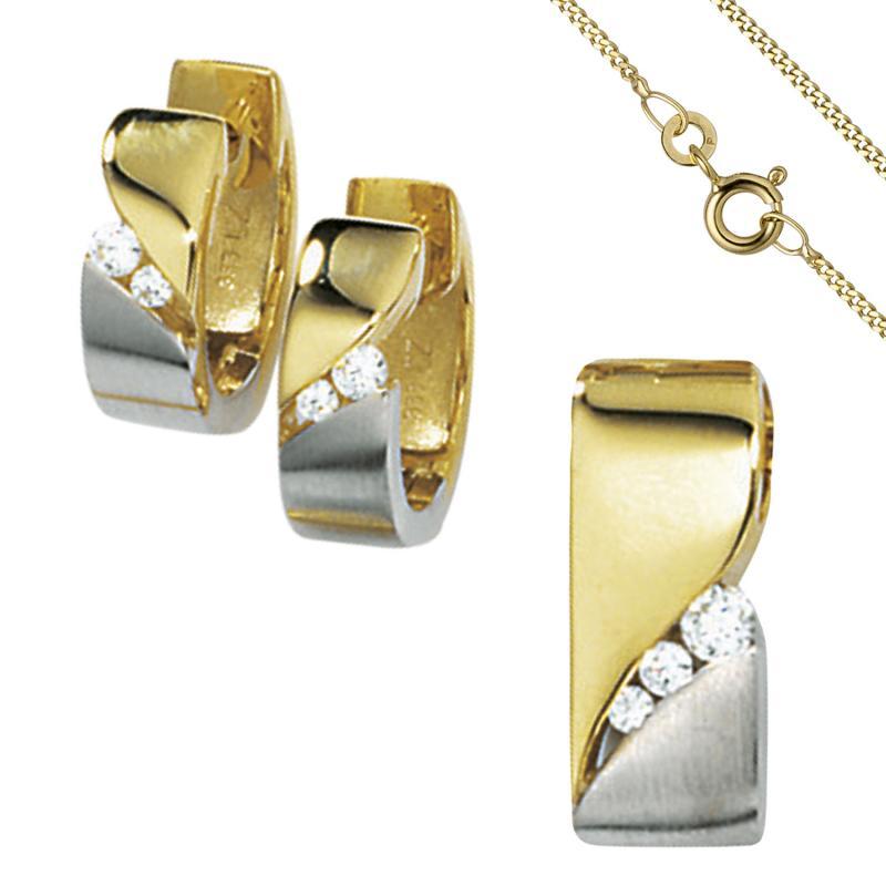 Ohrringe Ohrstecker Echt Gold 333 Zirkonia Top Qualität Ohr Schmuck Gelbgold Neu